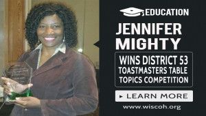 Jennifer Mighty Wins District 53 Toastmasters Table Topics Competition