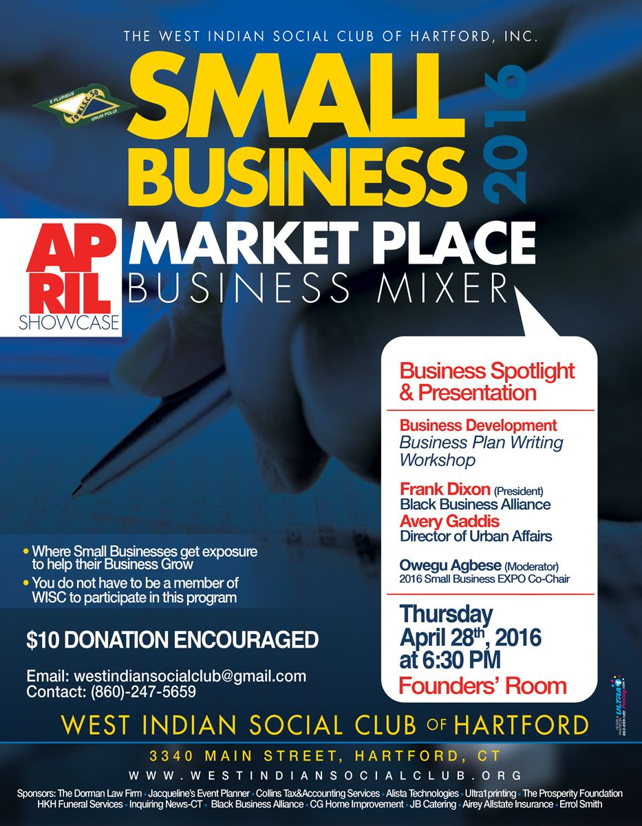 April 2016 - West Indian Social Club - Small Business Mixer - Business Plan Writing Workshop - Frank Dixon