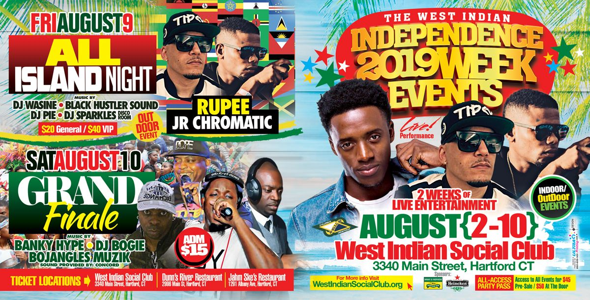 2019 West Indian Celebration Week - August 2nd to 10th - Featuring Romain Virgo & Rupee