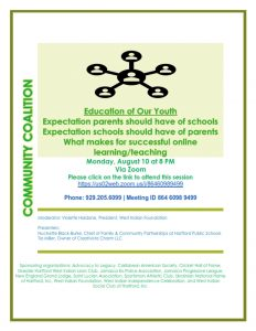 Education for our Youth - COMMUNITY COALITION - Virtual Zoom Segment