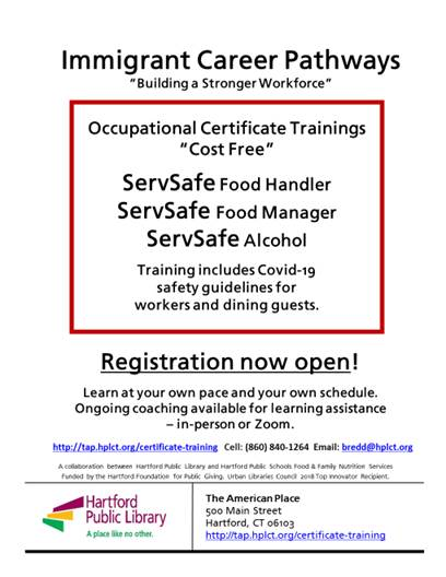 Immigrant Career Pathways ServSafe Food Training