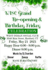May 2021 Birthday Friday at the West Indian Social Club- Flyer - Covid19 Grand Re-Opening