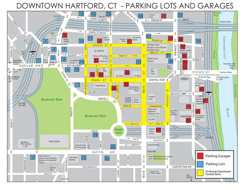 Map Of Downtown Hartford Parking