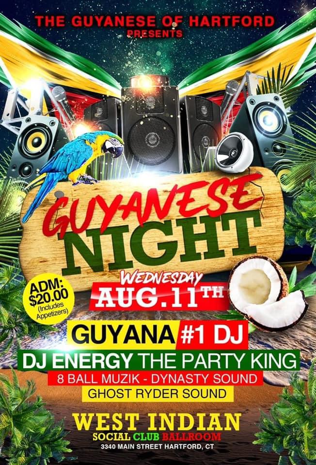 2021 HARTFORD CT Celebration Week - Guyanese Night - Wednesday August 11th 2021