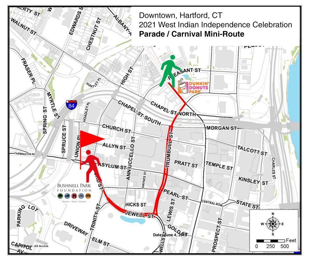 Hartford CT, West Indian Independence Celebration 2021 - Parade / Carnival Route