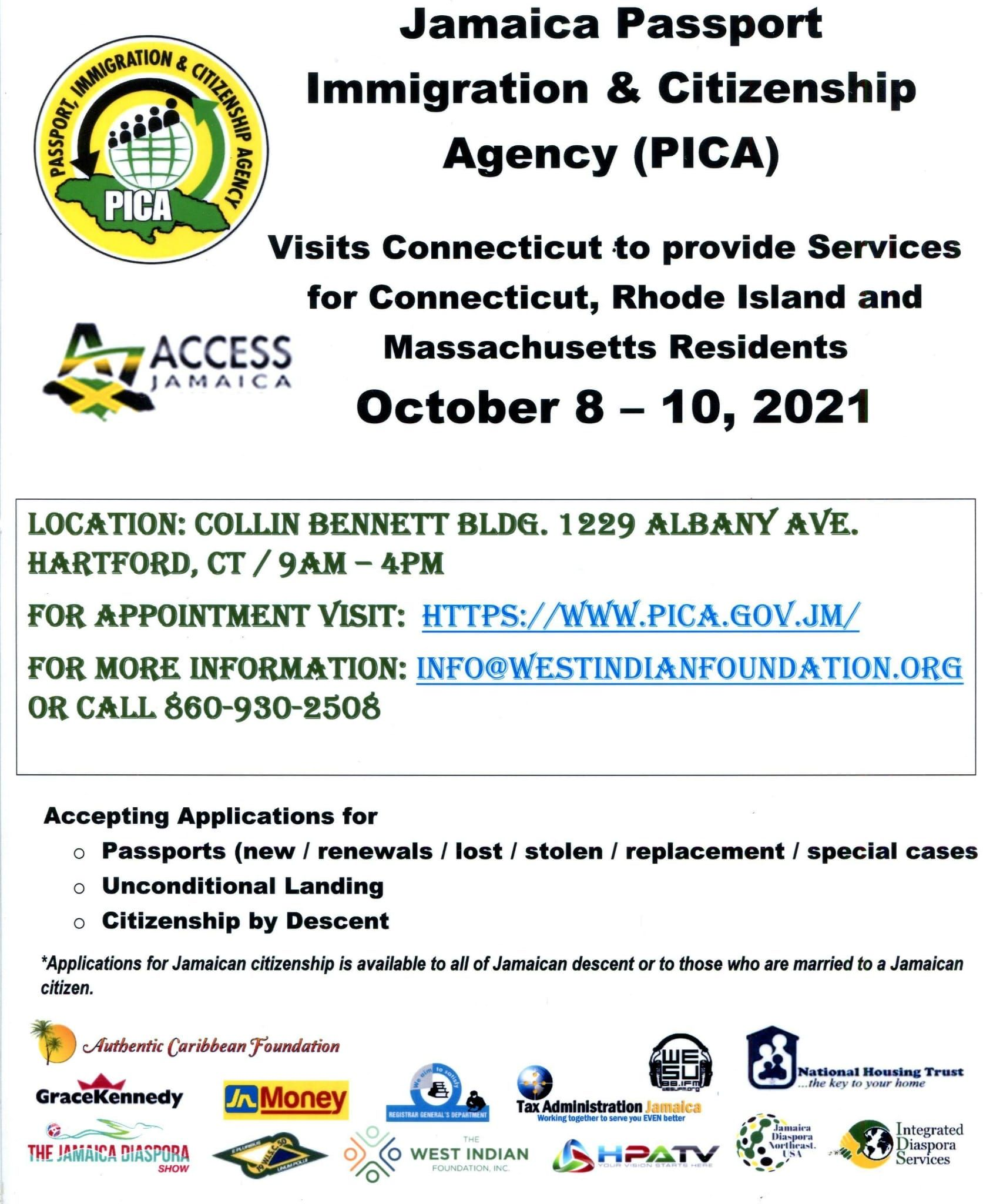 Time to Apply for Jamaican Passport - PICA Visits Hartford, Connecticut